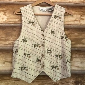 Vintage Casey & Max embroidered linen blend vest